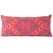 """14 X 32"""" Purple Pink Moroccan Bolster Long Lumbar Sofa Couch Pillow Cover Case C"""