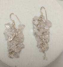 *Authentic* India Pink Quartz Beaded  Gemstone Chandelier Earrings #26