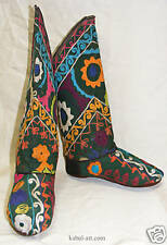 antik Uzbek afghanistan orient Suzani Stiefel schuhe embroidered shoes Boot,s -C