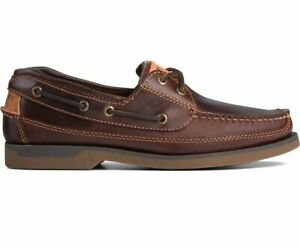 Mens SPERRY TOP SIDER MAKO Amaretto Brown LEATHER Canoe Moc Boat Shoes US 13 W