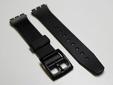 Black Replacement Watch Band for Swatch w/ Pins | Silicon | Plastic | 17mm Strap