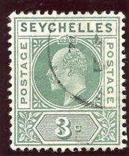 Seychelles 1906 KEVII 3c Verde embotado Dentada marco Fila 1/6 Panel Izquierdo VFU. Sg 61 bis.