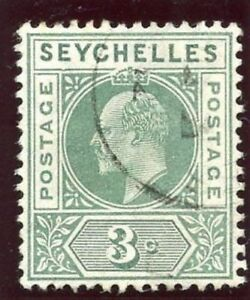 Seychelles 1906 KEVII 3c dull green DENTED FRAME Row 1/6 Left Pane VFU. SG 61a.