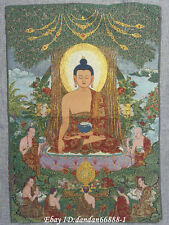 "24/""Tibet Buddhism Cloth Silk Three-sided GuanyinBuddha Thangka Embroidery Mural"