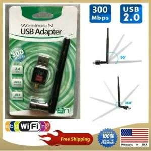 Wireless USB WiFi Adapter Dongle Network 802.11b/g/n 300Mbps Antenna 2.4GHz USA