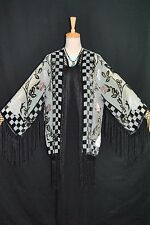 Art to Baby Green Rose Flower Burnout Velvet Fringe Jacket Kimono Duster Short
