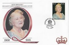 (94823) Maldives FDC Queen Mother 95th Birthday 6 July 1995