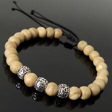 Buddhism Meditation Sterling Silver 1711 Mala Gaharu Agarwood Braided Bracelet