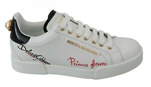 DOLCE & GABBANA Shoes White Princess Forever Low Top Sneakers Casual EU38 /US7.5