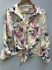 Yumi Kim Large Top Tie Front Shirt Beige Floral Blouse Spring Summer Women's L