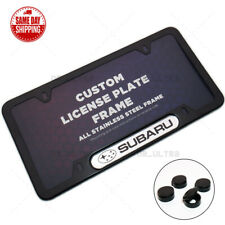 For Subaru Sport Front / Rear License Plate Frame Cover Stainless Steel Black