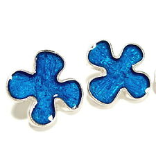 SoHo® Ohrstecker Blume silber Kunstharz blau retro Resin blue Kaltemail SoHo