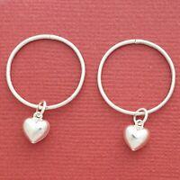 Sterling Silver Sleepers Heart Earrings 20mm Hinged love hoops New large thin