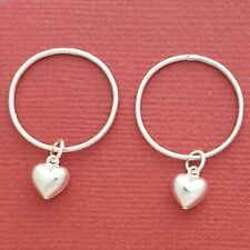 Sterling Silver Sleepers Heart Earrings 20mm Hinged love hoops New large thin
