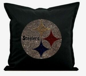 """Pittsburgh Steelers Cover Sofa Throw Pillow Case 18""""X18"""" Chair Couch Rhinestone"""