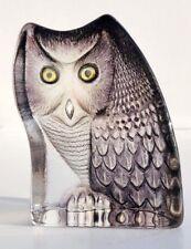 MATS JONASSON Crystal Glass Art OWL Bird Sculpture Statue Maleras Sweden 3925