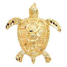 Sea Animal Turtle 31mm Summer Charm Real 14k Yellow Solid Italian Gold Pendant