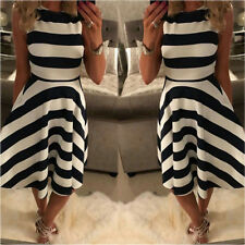 UK Fashion Womens Striped Swing Sleeveless Dresses Ladies Evening Paty Sundress