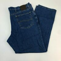 Lee Jeans Mens 42X30 Blue Straight Leg Regular Fit Cotton Blend Medium Washed