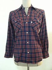 Vintage Levis shirt 60's teen youth 12-14 women small western snap red plaid siz