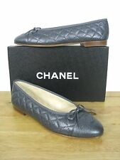 CLASSIC CHANEL CAVIAR LEATHER  LOGO QUILTED BALLERINA FLATS sz 40.5 IT  NIB