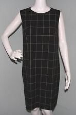 NWT Womens Ralph Lauren Black/Cream Plaid Leather Trim Sheath Dress Sz 14
