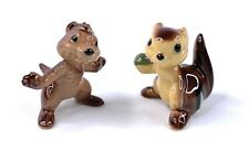 Set of 2 Vintage Hagen Renaker Mama and Baby Chipmunk with nut Figurines