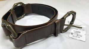 Carlisle Cherry Red Snakeskin and Gold Metal Leather Belt Size Medium