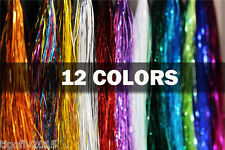 12Color Flashabou Tinsel Holographic Flat Mylar Crystal Flash Fly Tying Material