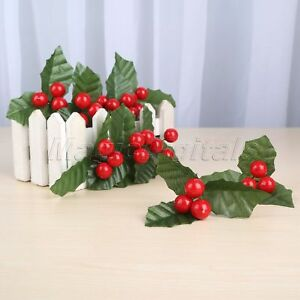 Party Decoration DIY Wedding Flowers Leaves Artificial Holly Berries Leaf 10X