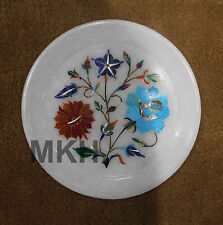 "Moasic White Marble 6"" Serving Dish Plate Floral Inlay Marquetry Kitchen Decor"