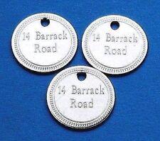 3 x Médailles gravée pour Chien ou Chat 22mm en Nickel avec un bordure deco!