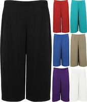 New Womens Plus Size Wide Leg Crepe Stretch Plain Culottes Ladies Shorts 12-30