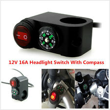 12V Motorcycle Waterproof Handlebar Headlight Fog light On Off Switch W/ Compass