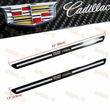 For Cadillac Carbon Fiber Car Door Welcome Plate Sill Scuff Cover Decal Sticker