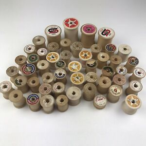 Vintage Wood Wooden Sewing Thread Spools Lot of 50 Empty Various Sizes