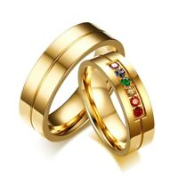 Unique Couple Wedding Rings Women Men's 6MM Gold Stainless Steel Rainbow CZ Ring