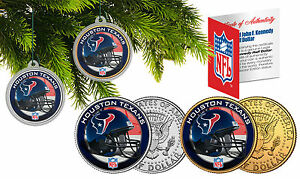 HOUSTON TEXANS Christmas Tree Ornaments JFK Half Dollar US 2-Coin Set NFL