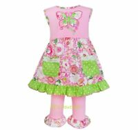 Girls butterfly tunic dress ruffle leggings boutique outfit 12-18 months 2T NWT