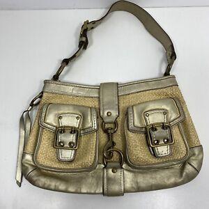 Coach Woven Straw & Gold Leather Hobo Shoulder Bag Handbag Purse C Logo Liner