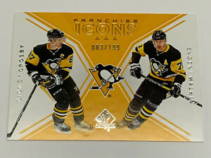 18-19 SP Authentic SIDNEY CROSBY / EVGENY MALKIN Franchise Icons Card #'d /199