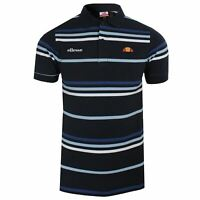 ELLESSE POLO SHIRT LEWOODIO MENS NAVY STRIPED TOP