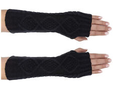 Women's Warm Fashion Knitted Fingerless Mittens Gloves (Black) - NEW With Tags!
