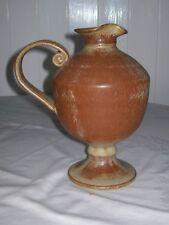"Beautiful-Unique-Art Pottery Ewer/Jug,-stoneware-unmarked-9"" tall ,Roman Style"