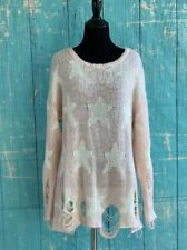 "WILDFOX WHITE LABEL ""SEEING STARS"" Pink White Distressed Sweater M Retails $190"