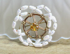 Natural Citrine & Pearl Large Flower Wheel Brooch Solid 14K Yellow Gold Canada