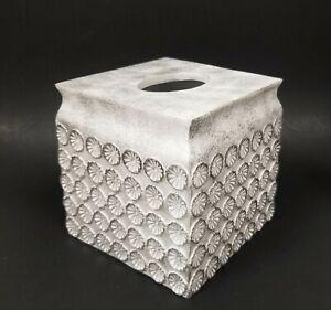 RAYMOND WAITES WHITE+SILVER 3D CIRCLE PATTERN RESIN TISSUE BOX,NAPKIN HOLDER