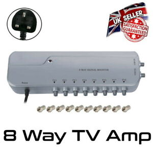 TV Amp Signal Booster 8 Way Distribution Amplifier Booster with 4G Filter