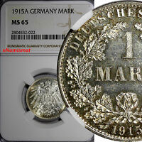 Germany-Empire Wilhelm II Silver 1915 A 1 Mark NGC MS65 GEM  BU KM#14