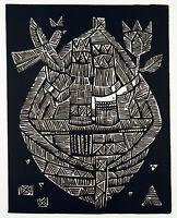 Untitled, 1965. Grosser Linolschnitt Sigute VALIUVIENE (*1931 LTU) handsigniert